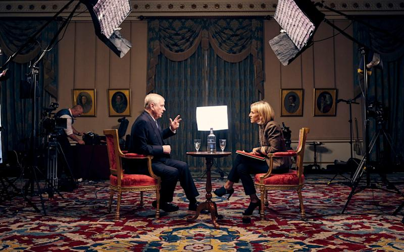 Emily Maitlis interviewing Prince Andrew in Buckingham Palace - PA