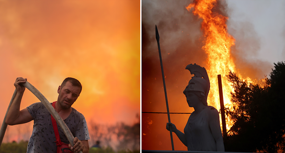 Left - a fireman carrying a hose with burn burning in the background. Right - a Greek statue with fire in the background