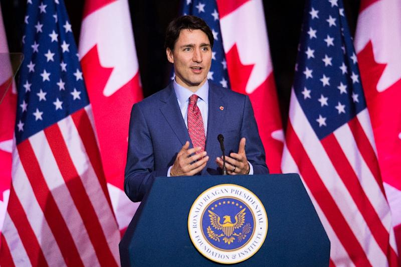 """Canadian Prime Minister Justin Trudeau, pictured speaking in the United States in February, 2018, wants a """"permanent exemption"""" from US tariffs on aluminum and steel"""