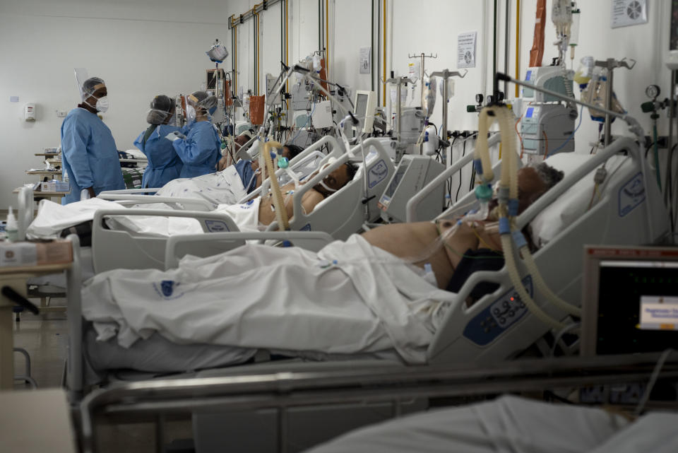 Unconscious and intubated Covid-19 patients are treated in Vila Penteado Hospital's ICU, in the Brasilandia neighborhood of Sao Paulo, on June 21, 2020. According ta a study published in June 21st, Brazil's public hospitals, like Vila Penteado, had almost 40% death rates from the new coronavirus, the double from private hospitals. Brasilandia is one of the neighborhhods in Sao Paulo with highest number of deaths from Covid-19 (Photo by Gustavo Basso/NurPhoto via Getty Images)