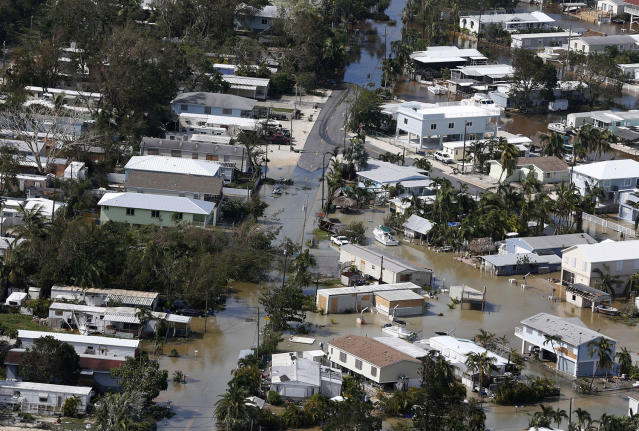 <p><strong>Key Largo</strong><br>Floodwaters cover streets in the aftermath of Hurricane Irma, Sept. 11, 2017, in Key Largo, Fla. (Photo: Wilfredo Lee/AP) </p>