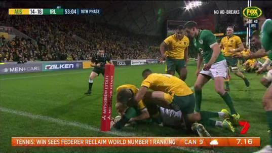 The Wallabies have suffered a double blow to the Irish in Melbourne.