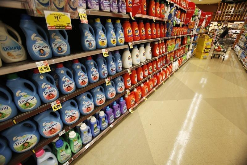 Downy softener and Tide laundry detergent, products distributed by Procter & Gamble, are pictured on sale at a Ralphs grocery store in Pasadena