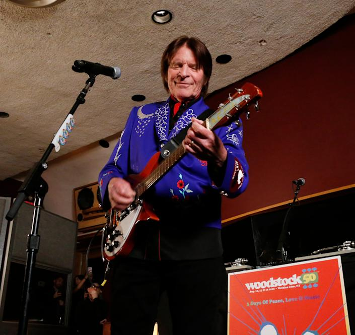 John Fogerty performs at Electric Lady Studios in New York City with the guitar he played at the 1969 Woodstock Music & Art Festival.
