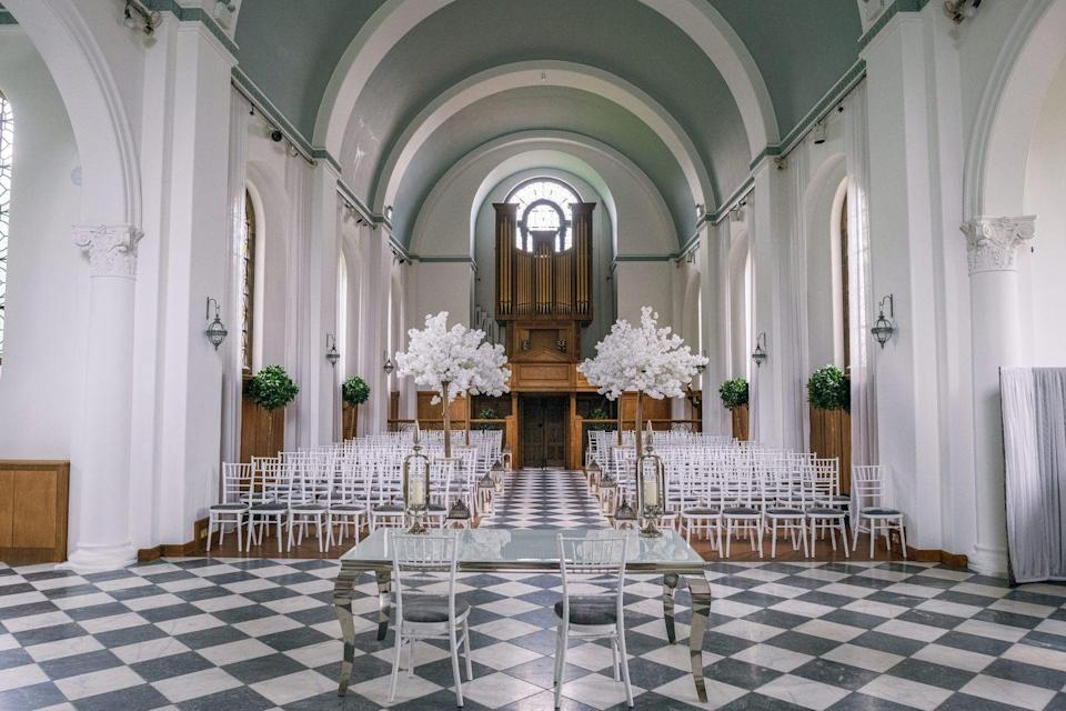 """<p>If you're dreaming of a large-scale soirée with up to 200 guests in a Chapel, your prayers have finally been answered. </p><p>This Shrewsbury wedding destination has the perfect light-filled space with high, detailed ceilings and superb acoustics for brides and grooms wanting a grand affair. </p><p>There's also the Saloon in the mansion house, if you're all about the small and intimate do, and a garden marquee for those with guest numbers of 700 plus. Yes, really. </p><p>Find out more <a href=""""https://hawkstonehall.co.uk/"""" rel=""""nofollow noopener"""" target=""""_blank"""" data-ylk=""""slk:here"""" class=""""link rapid-noclick-resp"""">here</a>. </p>"""
