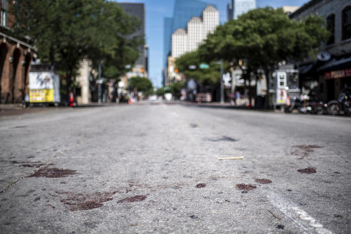 A blood-stained street