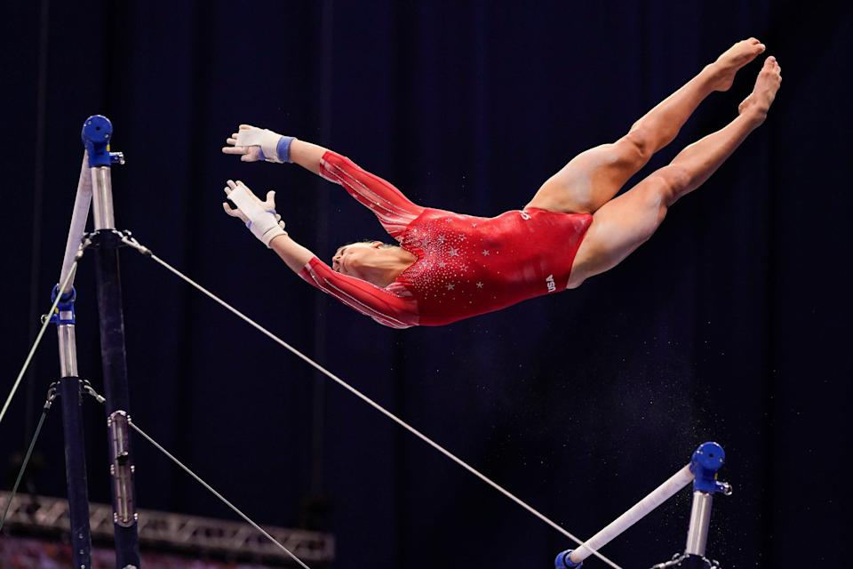 Grace McCallum competes on the uneven bars during the women's U.S. Olympic Gymnastics Trials on June 27, 2021, in St. Louis, Missouri.