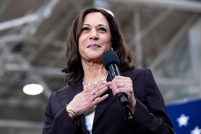 Senator Kamala Harris addresses the audience during a rally at Los Angeles Southwest College in Los Angeles, California in May. (Photo: Etienne Laurent/EP-EFE/Shutterstock)