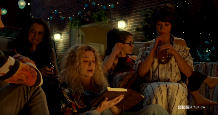 <p>The <em>Orphan Black</em> series finale really started cooking with gas when the Core Four Leda sestras gathered in Alison's backyard to celebrate the birth of Helena's twins. It was an extended sequence that the show — and star Tatiana Maslany (as well as her hardworking double, Kathryn Alexandre) — had been building to over the course of the entire series, with the main cast of clones seamlessly mingling and sharing the same frame for almost 20 minutes. It's a uniquely satisfying moment that no other show will ever be able to clone. —<em>Ethan Alter</em><br />(Photo: BBC America) </p>