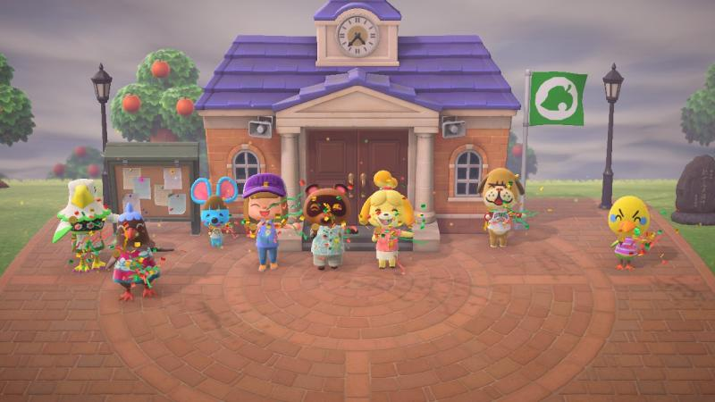 Characters celebrate the opening of Resident Services in