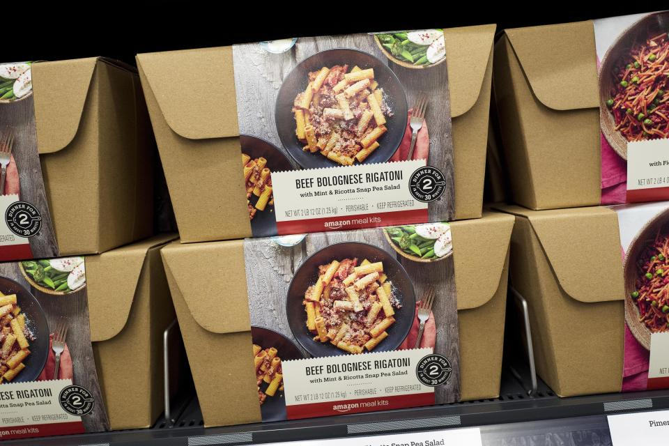 Amazon Meal Kits are displayed in a newly-opened Amazon Go store, Tuesday, May 7, 2019 in New York. (AP Photo/Mark Lennihan)