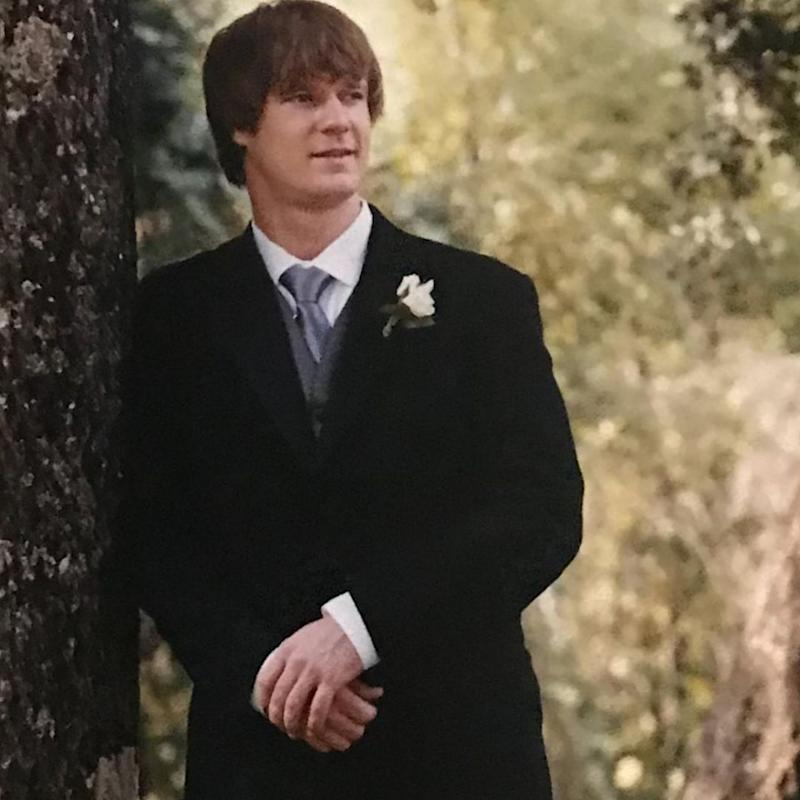 Dean posing on his own during his first wedding. Source: Instagram/deanwells