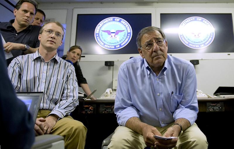 Secretary of Defense Leon Panetta listens to a question during media briefing onboard his plane May 31, 2012 enroute to Singapore from Honolulu, Hawaii. (AP Photo/Jim Watson, Pool)