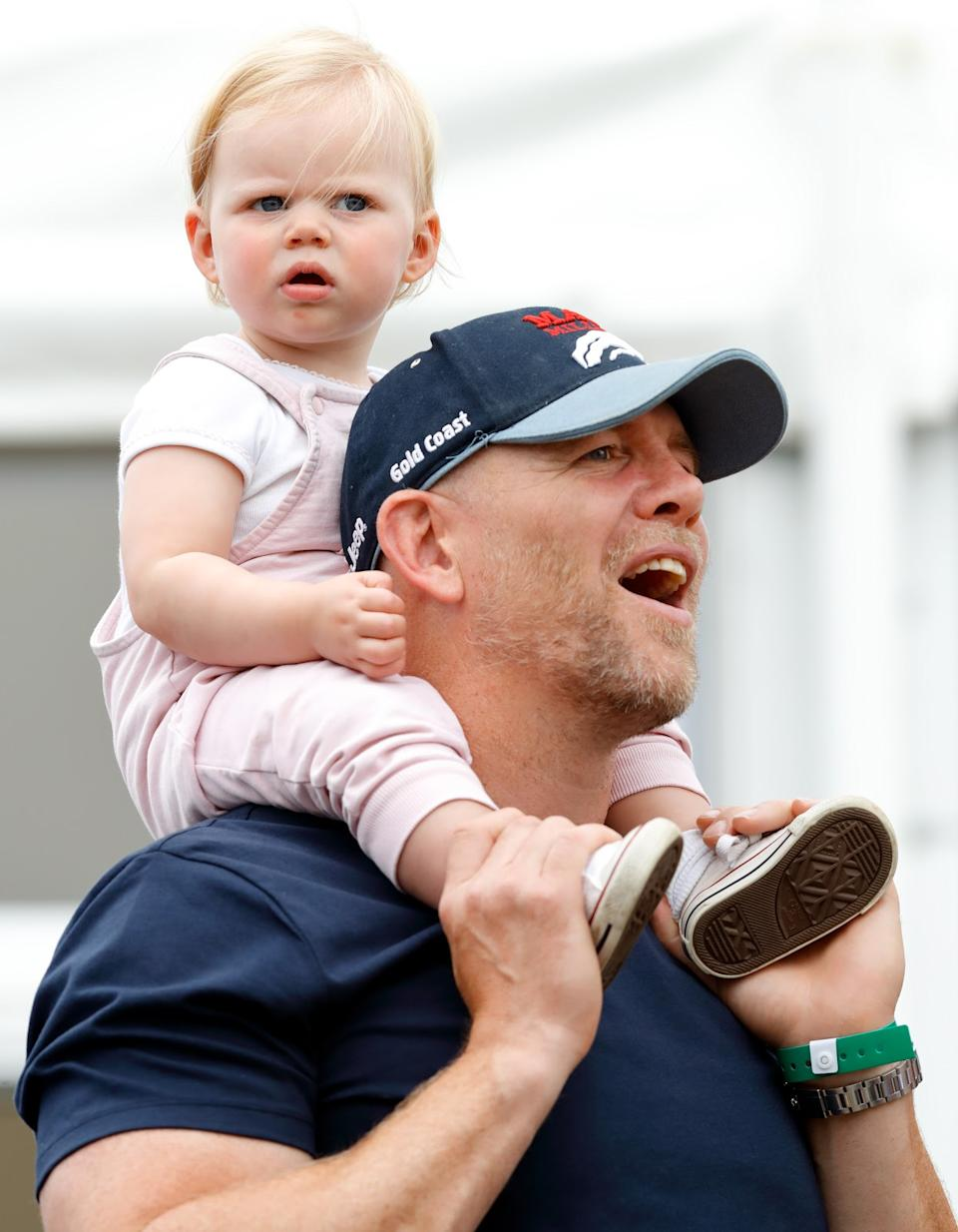 <p>Mike Tindall carries daughter Lena on his shoulders at the 2019 Festival of British Eventing at Gatcombe Park. (Max Mumby/Indigo/Getty Images)</p>