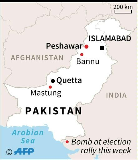Map of Pakistan locating bombs targeting election rallies since July 11