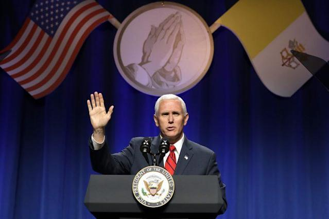 Vice President Mike Pence at the 13th annual National Catholic Prayer Breakfast in Washington, June 6, 2017. (Photo: Jacquelyn Martin/AP)