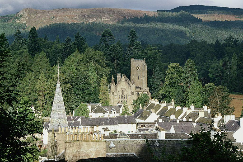 A general view of the Dunkeld and the cathedral, Perth and Kinross, Scotland, July 1997. The cathedral was built from around 1260 and was completed around 1501.