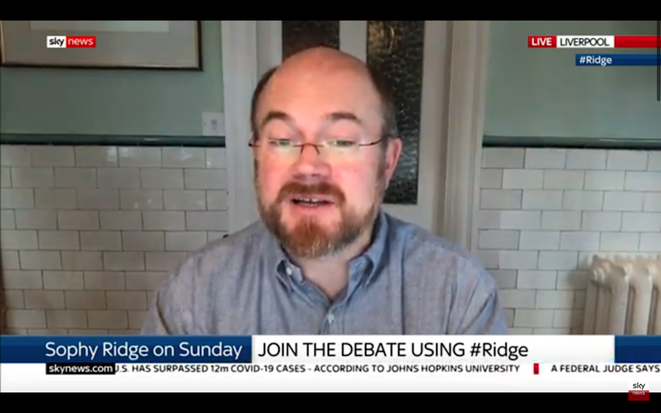 <p>Professor Calum Semple speaking on Sky News this morning.</p>Sky News/ YouTube