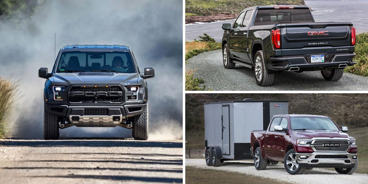 """<p>Full-size pickups exist at the intersection of functionality, speed, technology, and fashion. <a href=""""https://www.caranddriver.com/features/g27242492/best-pickup-trucks/"""" target=""""_blank"""">Today's trucks</a> are as quick as some sport sedans, can practically tow your house, and offer cutting-edge convenience and safety technologies. In this market, which is contested by only six manufacturers, most buyers are predisposed to a certain brand (the domestic Big Three, in particular, carry cult followings) and it's a close fight among top competitors. That said, every one of these trucks can handle classic pickup needs without trouble, and if you haven't already sorted yourself into the Dodge, Chevy, or Ford camps, we've ranked the segment players from worst to best to help you in your full-size truck search.</p>"""