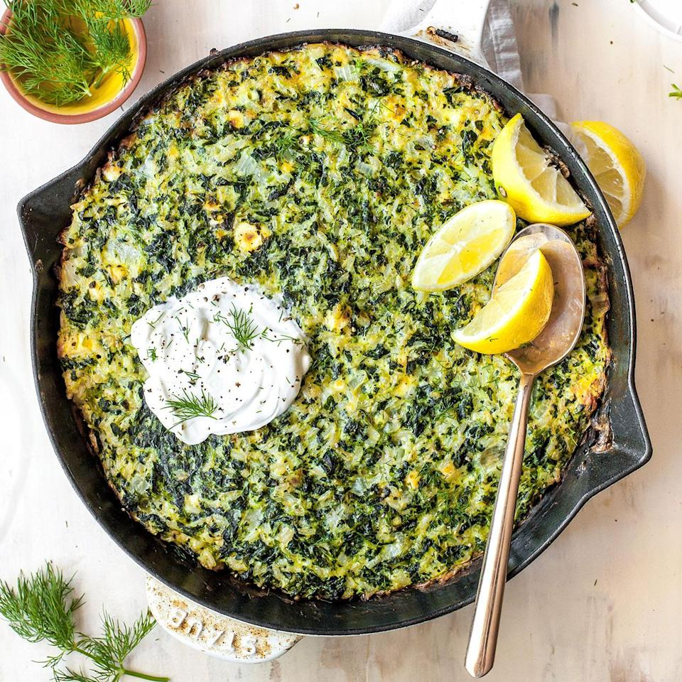 "<p>This one-pan recipe is the casserole version of spanakopita! It's hearty enough to enjoy as a vegetarian lunch or dinner, yet versatile enough to serve alongside just about any protein. To make it extra creamy, top each serving with a dollop of sour cream. <a href=""http://www.eatingwell.com/recipe/280864/spinach-feta-rice-casserole/"" rel=""nofollow noopener"" target=""_blank"" data-ylk=""slk:View recipe"" class=""link rapid-noclick-resp""> View recipe </a></p>"