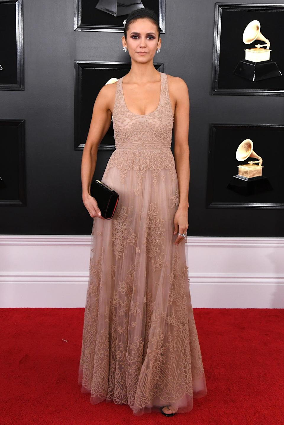 Nina Dobrev at the 2019 Grammy Awards. Image via Getty Images.