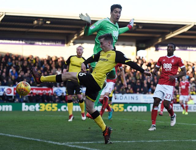 "Soccer Football - Championship - Burton Albion vs Nottingham Forest - Pirelli Stadium, Burton-on-Trent, Britain - February 17, 2018 Burton's Joe Sbarra in action with Nottingham Forest's Costel Pantilimon Action Images/Alan Walter EDITORIAL USE ONLY. No use with unauthorized audio, video, data, fixture lists, club/league logos or ""live"" services. Online in-match use limited to 75 images, no video emulation. No use in betting, games or single club/league/player publications. Please contact your account representative for further details."