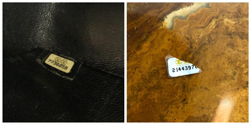 The hologram sticker of a real bag, at left, has a digital and blocky typeface, while the fake, at right, looks like it came from a typewriter.