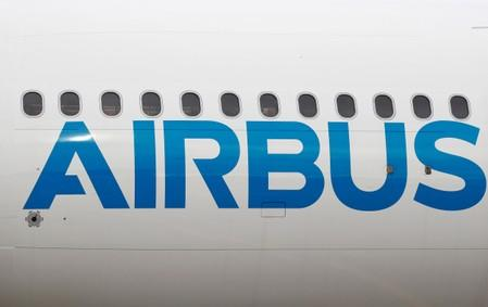 FILE PHOTO: The logo of Airbus is seen on an Airbus A330-800 aircraft after a flight event presentation in Colomiers near Toulouse