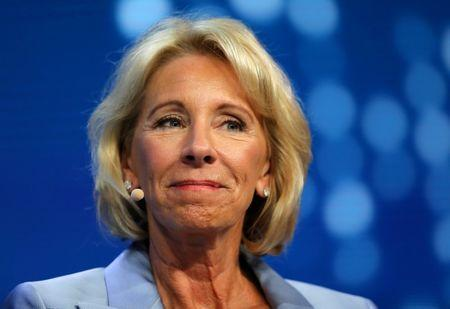 FILE PHOTO - Betsy DeVos, U.S. Secretary of Education, speaks during the Milken Institute Global Conference in Beverly Hills, California, U.S. on May 1, 2017. REUTERS/Mike Blake/File Photo