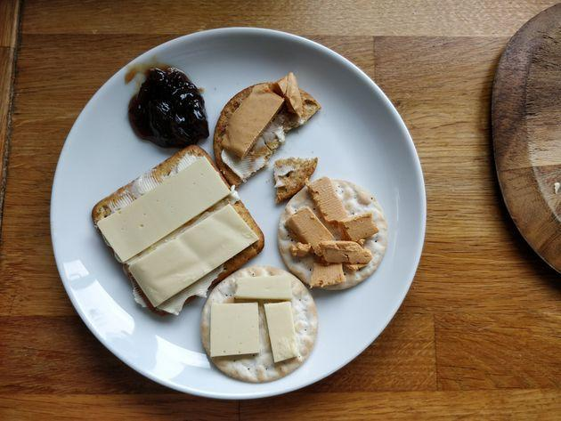 Cheeseboard featuring I Am Nut OK's PapaRica and VioLife epic mature cheddar.