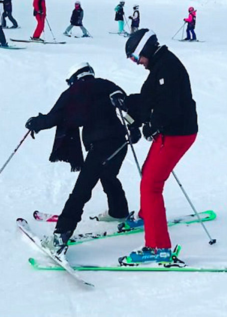 Oops! Sophie falls over landing herself in the splits, while her beau Stu tries to hold her up. Source: Instagram