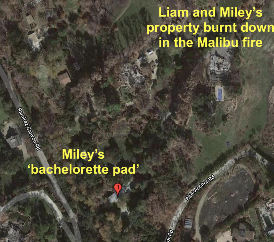 Miley's new pad is just next door to the home she and Liam shared as a married couple. Photo: Australscope.