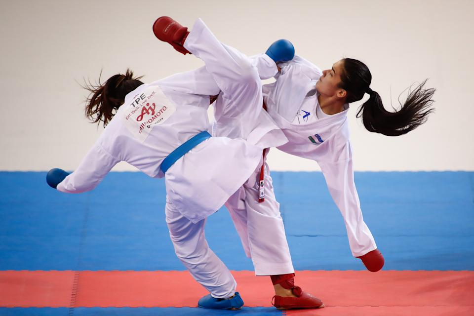 MADRID, SPAIN - DECEMBER 01: Tzu-Yun Wen of China fight for bronce medal against Sevinch Rakhimova of Uzbekistan during the Premier League of Karate 1 celebrated at Madrid Arena on December 01, 2019 in Madrid, Spain. (Photo by Oscar J. Barroso / AFP7 / Europa Press Sports via Getty Images)