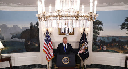 U.S. President Donald Trump speaks about Iran and the Iran nuclear deal in the Diplomatic Room of the White House in Washington, U.S., October 13, 2017. REUTERS/Kevin Lamarque