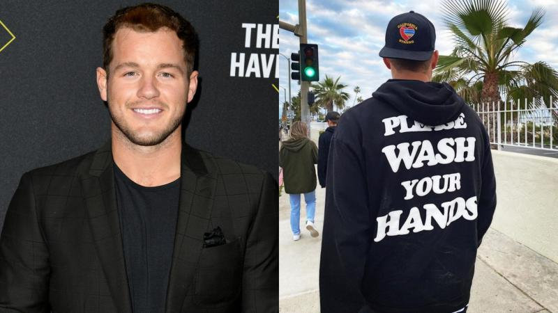 "Former ""Bachelor"" Colton Underwood encouraged fans to practice hand-washing in a pricey designer sweatshirt. Image via Getty Images/Instagram."