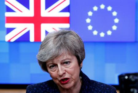 FILE PHOTO: British Prime Minister Theresa May speaks at the European Council headquarters in Brussels, Belgium February 7, 2019. REUTERS/Francois Lenoir/File Photo