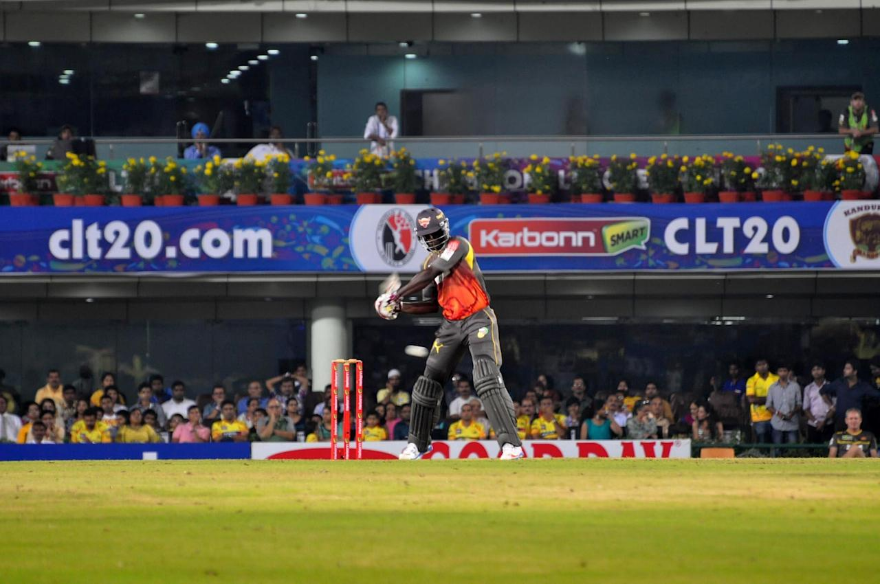 Sunrisers Hyderabad batsman Thisara Perera in action against Chennai Super Kings at Champions League Twenty-20 Match at Jharkhand State Cricket Association (JSCA) International Cricket Stadium in Ranchi on Sept. 26, 2013. (Photo: IANS)