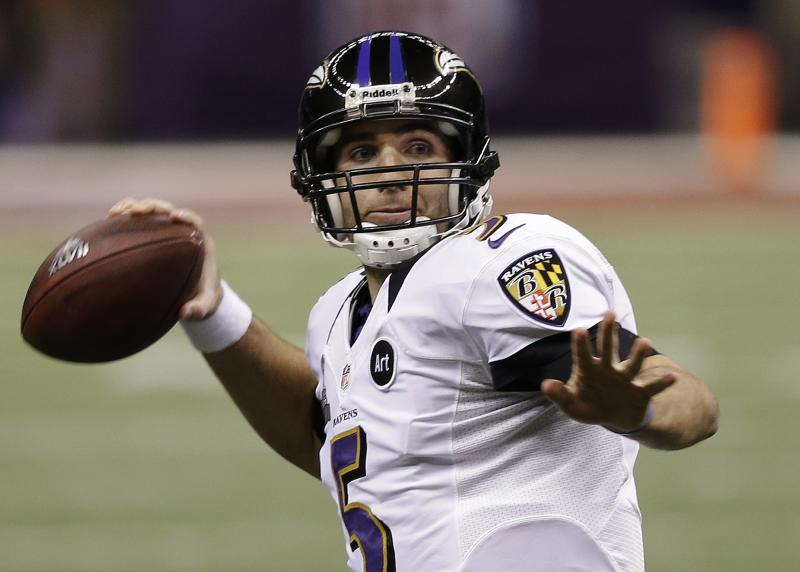 Baltimore Ravens quarterback Joe Flacco (5) passes against the San Francisco 49ers during the first half of NFL Super Bowl XLVII football game, Sunday, Feb. 3, 2013, in New Orleans. (AP Photo/Elise Amendola)