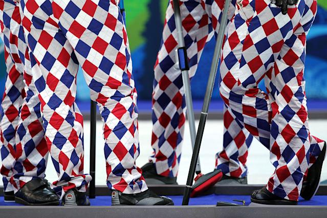 <p>A detail of the pants of members of the team from Norway during the curling round robin game against Denmark on day 9 of the Vancouver 2010 Winter Olympics at Vancouver Olympic Centre on February 20, 2010 in Vancouver, Canada. (Photo by Jamie Squire/Getty Images) </p>