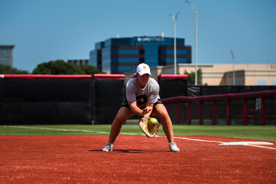 Amanda Chidester catches a ground ball during a practice for Athletes Unlimited. This will be her second season on the roster after making the cut in AU Softball's inaugural season.