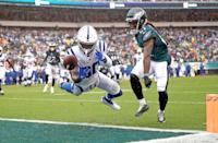 <p>Indianapolis Colts' Chester Rogers, left, cannot catch a pass against Philadelphia Eagles' Ronald Darby during the second half of an NFL football game, Sunday, Sept. 23, 2018, in Philadelphia. (AP Photo/Matt Rourke) </p>