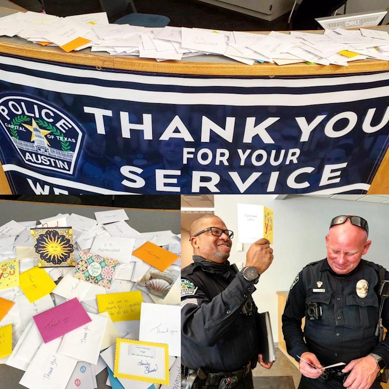 The Austin Police department Twitter image showing two police officer (one black one white) reading thank you cards public claims have been forged because of same handwriting