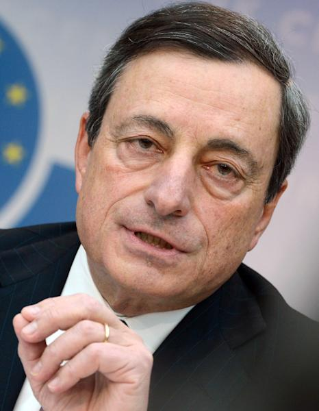 President of the European Central Bank, ECB, Mario Draghi speaks during a news conference at their headquarters in Frankfurt, central Germany, Thursday, March 7, 2013. The European Central Bank has left its benchmark interest rate unchanged at a record low of 0.75 percent, holding off on further stimulus even though the euro area remains stuck in recession. The decision came Thursday at a meeting of the bank's 23-member governing council at its headquarters in Frankfurt. (AP Photo/dpa, Arne Dedert)