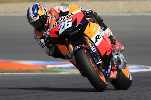Moto GP rider Dani Pedrosa of Spain takes part in a free practice session at the Czech Republic Grand Prix on August 24, 2012 in Brno ahead of the Grand prix event on August 26. Vioales won the practice session. AFP PHOTO / RADEK MICARADEK MICA/AFP/GettyImages