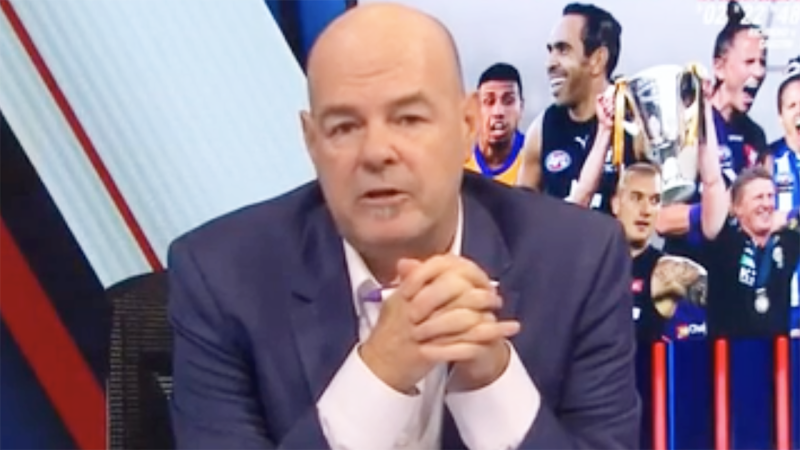 Mark Robinson is pictured hosting AFL 360.