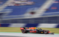 Red Bull driver Max Verstappen of the Netherlands steers his car during the first free practice for the Austrian Formula One Grand Prix at the Red Bull Ring racetrack in Spielberg, Austria, Friday, July 2, 2021. The Austrian Grand Prix will be held on Sunday. (AP Photo/Darko Bandic)
