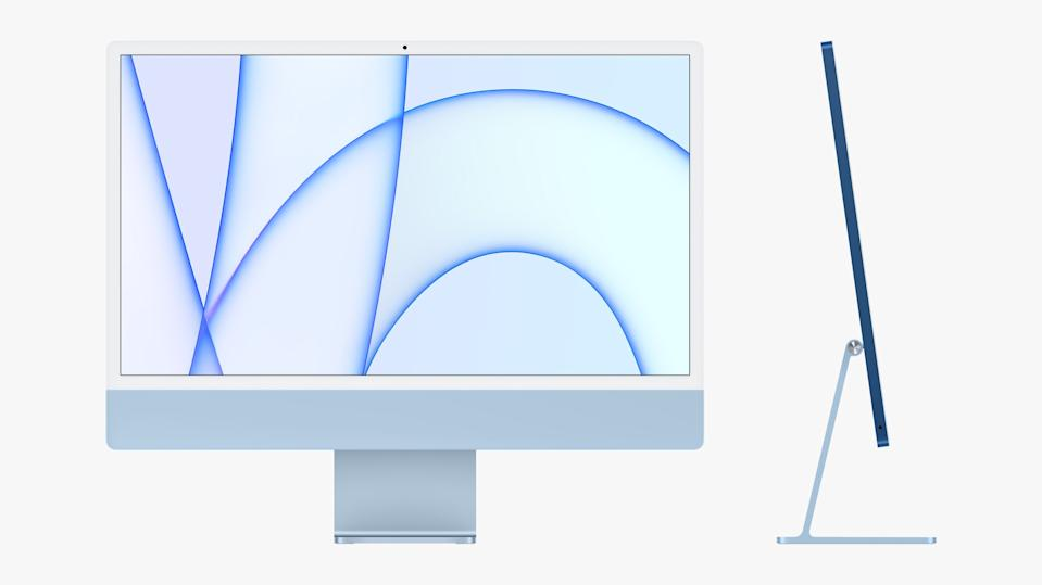 Apple's new iMac features the power of the company's M1 chip, a redesigned chassis, and a bunch of power. (Image: Apple)