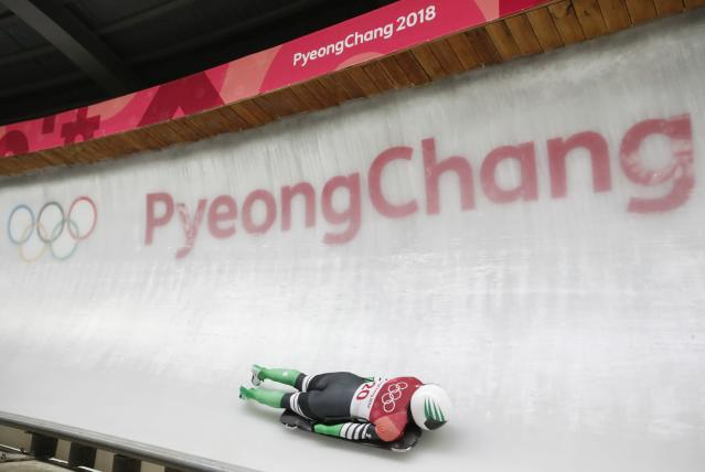 Pyeongchang 2018 Winter Olympics Skeleton - Pyeongchang 2018 Winter Olympics - Women's Finals - Olympic Sliding Centre - Pyeongchang, South Korea - February 17, 2018 - Simidele Adeagbo of Nigeria competes. REUTERS/Arnd Wiegmann
