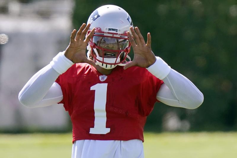 New England Patriots quarterback Cam Newton waits for the ball during an NFL football training camp practice, Tuesday, Aug. 18, 2020, in Foxborough, Mass. (AP Photo/Steven Senne, Pool)