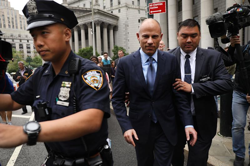 NEW YORK, NEW YORK - MAY 28: Celebrity attorney Michael Avenatti walks out of a New York court house after pleading not guilty Tuesday in federal court in a case where he is accused of stealing $300,000 from a former client, adult-film actress Stormy Daniels. on May 28, 2019 in New York City. A grand jury has indicted Avenatti for the Daniels-related case and a second case in which prosecutors say he attempted to extort more than $20 million from sportswear giant Nike. (Photo by Spencer Platt/Getty Images)